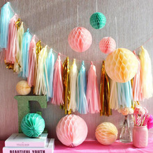 AVEBIEN 35CM Paper Tassel Wedding Decoration Curtain Children Baby Shower Birthday Party Background Sequin