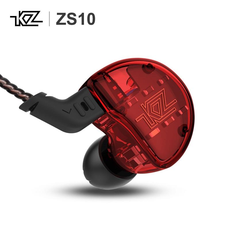 KZ ZS10 4BA + 1DD 10 Pilote Dynamique Armature HiFi In-Ear Monitors Écouteurs Écouteurs casque extra bass Antibruit hybride Casque
