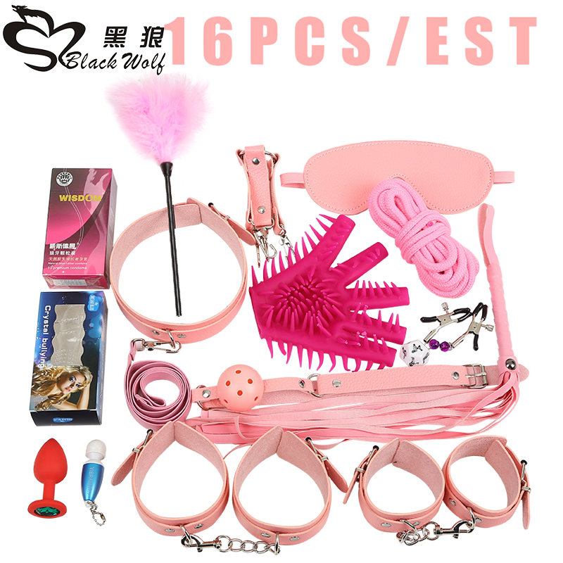 Adult Games Sex Toys 16 Pieces / set Bdsm Bondage Leather Fetish Bondage Couples Sex Products ,Bondage Rope Handcuffs collar Gag adult games 8 in 1 pink bondage kit set neck collar whip ball gag handcuffs rope eye mask fur sex fetish toy