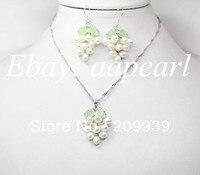 Livraison gratuite 001888 set blanc riz perle vert pierre de raisin boucle d'oreille collier 17
