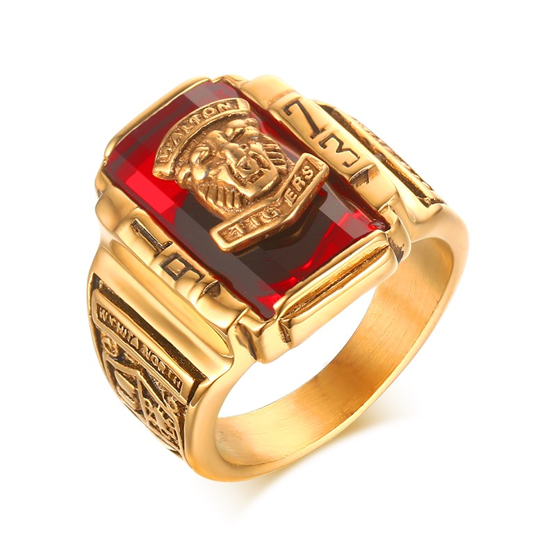 Meaeguet Men s Rock Punk Ring Gold Plated Large Red CZ Stone Ring Jewelry 1973 Lion