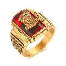 Meaeguet punky de la roca de los hombres joyería del anillo de piedra de la cz anillo de oro rojo grande 1973 lion head anillos del partido para hombres