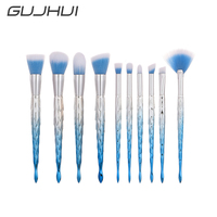 GUJHUI Brand 3 Colors Gold Blue Purple Makeup 10 PCS Brushes Set Foundation Brush Makeup Tools