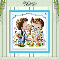Counted Cross Stitch Embroidery Kit Printed Canvas 11CT Set Painting Love Kiss
