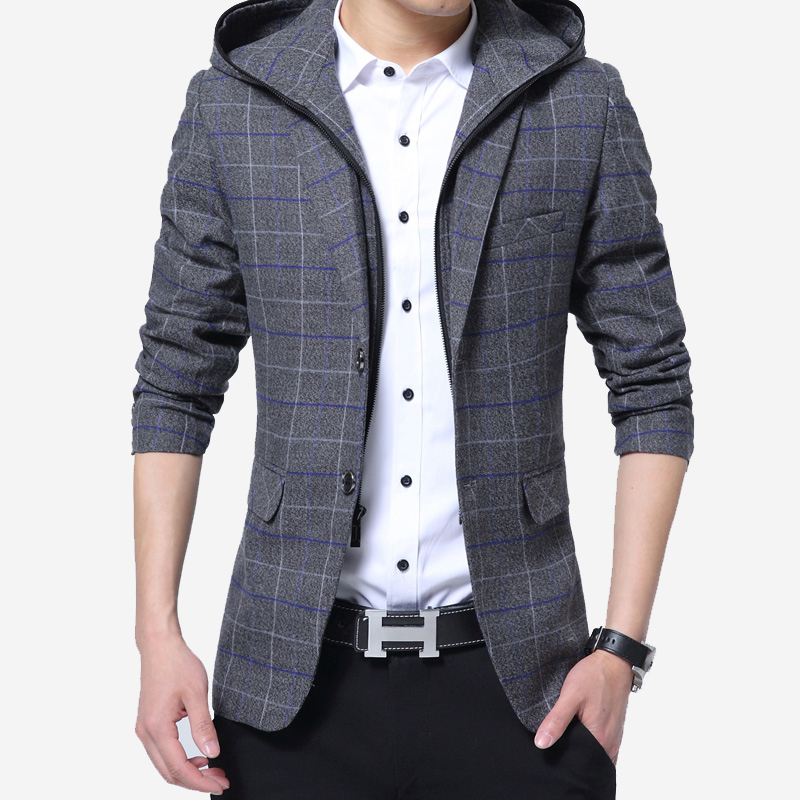 2018 spring new style with hooded suit male Korean version of the self-cultivation fashion lattice tide male handsome casual sui