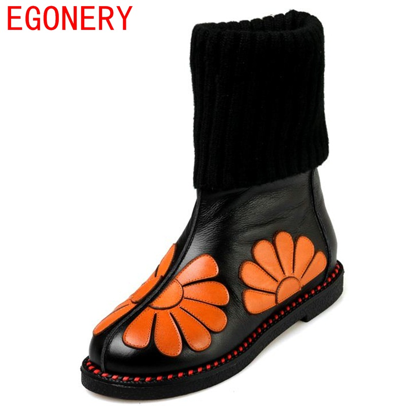 EGONERY women fashion snow boots 2019 winter new come round toe flower mid calf woman low heel genuine leather brand boat 34-43