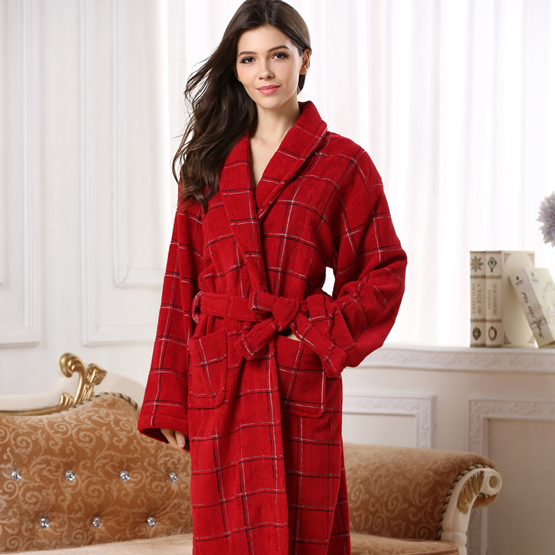 Dark Red Color Women Cotton Robe, long warm women terry cotton robe