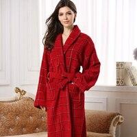 Dark Red Color Women Cotton Robe Long Warm Women Terry Cotton Robe