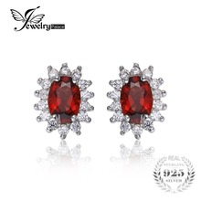 JewelryPalace 1.3ct Princesa Diana William Kate Middleton Granate Natural de Halo Stud Pendientes 925 Joyas De Plata Maciza
