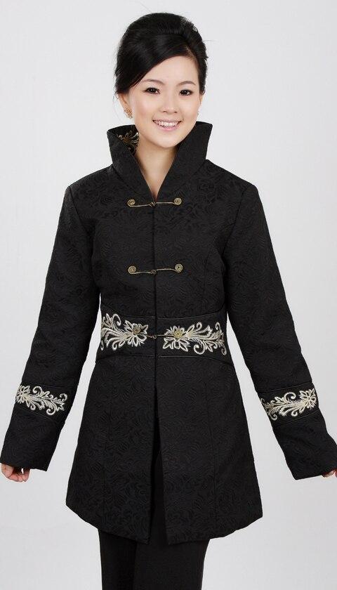 Envío Libre Negro de Las Mujeres Chinas de Algodón Silm bordado Capa de la Chaqu