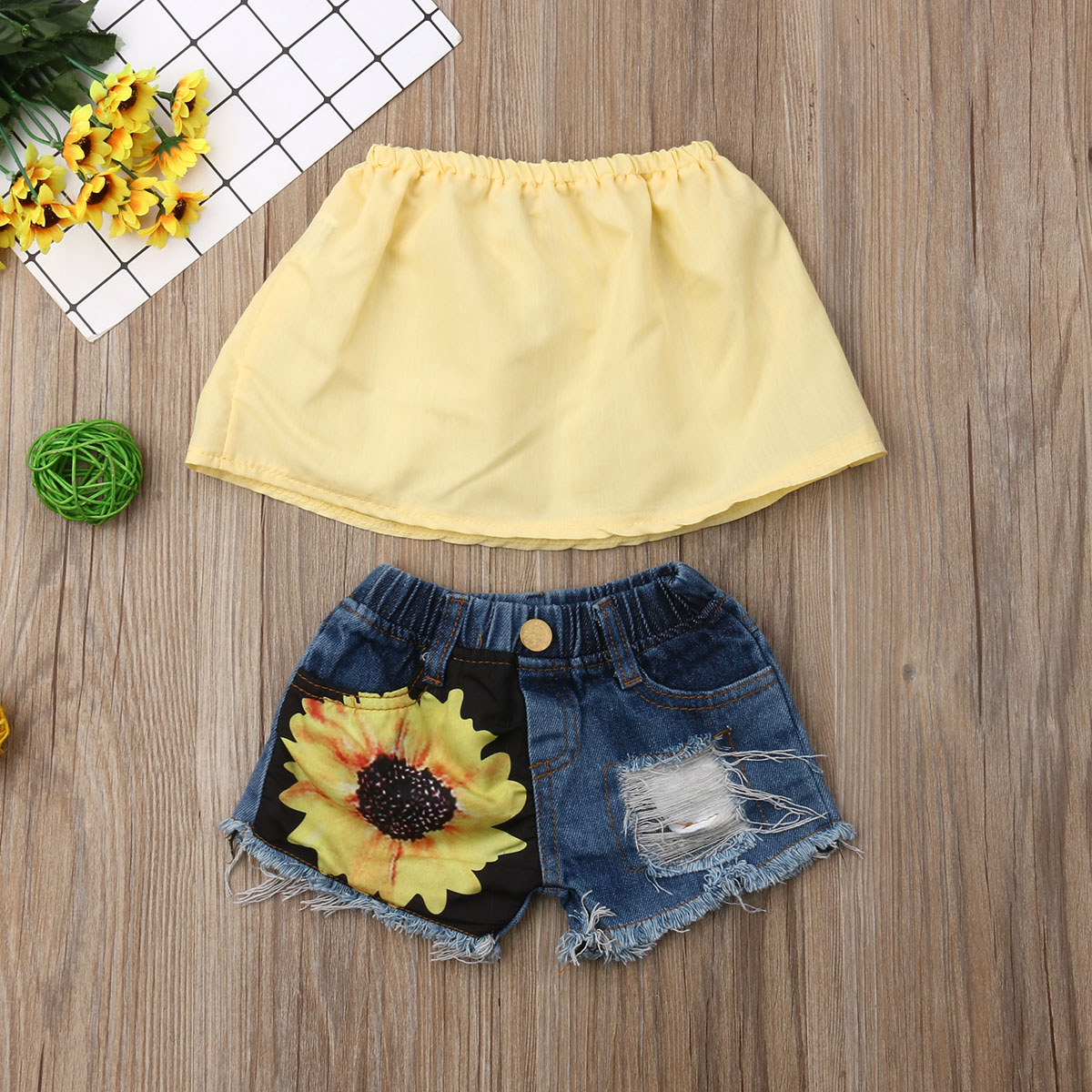Emmababy Summer Toddler Baby Girl Clothes Off Shoulder Cropped Tops Ripped Denim Sunflower Short Pants 2Pcs Outfits Casual Set