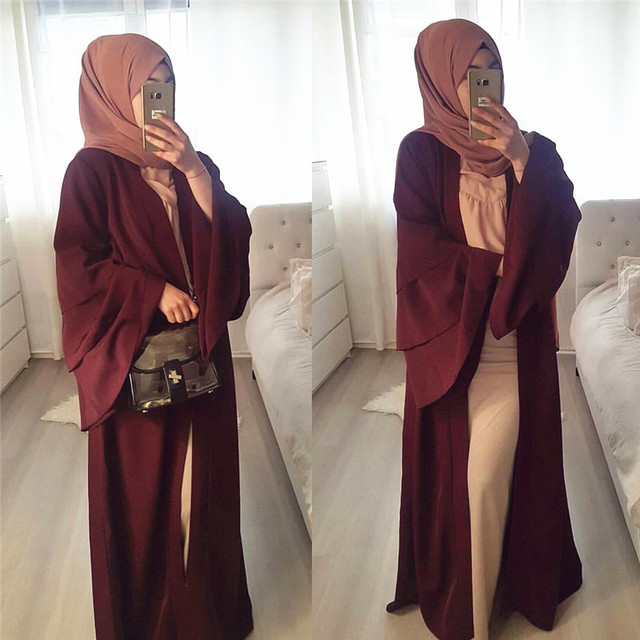 Muslim Tumpet Sleeve Cardigan Abaya Maxi Dress Long Robe Gowns Tunic Kimono Middle East Ramadan Arab Islamic Prayer Clothing 2
