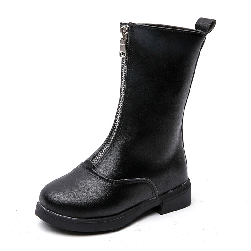 COZULMA Kids Zip Mid-calf Boots For Girls warm plush lining Autumn Winter Fashion Children High Shoes Size 27-36