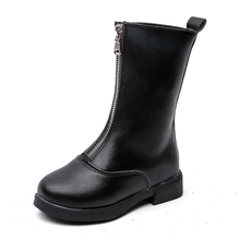 COZULMA Kids Zip Mid-calf Boots For Girls warm plush lining Autumn Winter Fashion Boots Children High Shoes Size 27-36