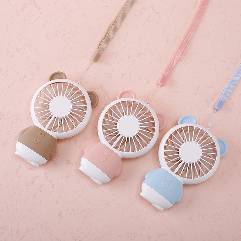 Carton Design Usb Mini Rechargeable Fan 2 Speed Controlled Fan 7 Color Night Light Portable Handheld Mini Fan With String