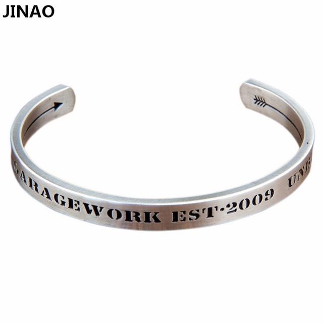 Jinao Couple Acier Inoxydable Hommes n Femmes Bracelet Argent Gravé Charme  Lettres Manchette Bracelet Main Stamp