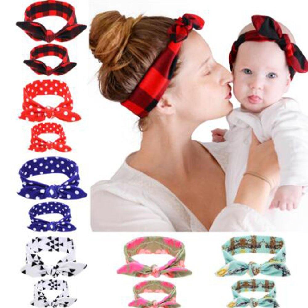 Clever Heißer Verkauf 2 Teil/satz Mom Hasenohren Haarschmuck Fliege Stirnband Haarband Stretch Knoten Bogen Baumwolle Stirnbänder Haar Zubehör