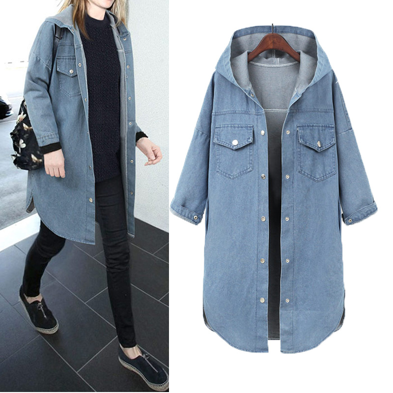 New Spring Autumn Women Coat Plus Size Fashion Single Breasted Solid Hooded Jeans   Trench   Coat For Women Large Denim Outerwear