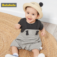 BalabalaBaby summer clothing set baby short sleeve suit boy 2019 new girl two piece ocean tide rompers +Tshirt