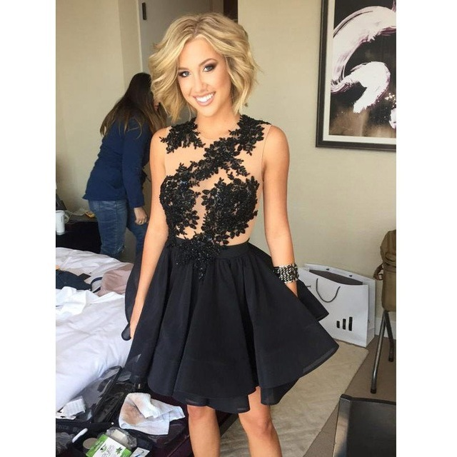 Black Homecoming Dresses 2016 O-Neck A Line Appliqued Lace Mini Sheer Illusion Girl Party 8th Grade Graduation Cocktail Gown H16