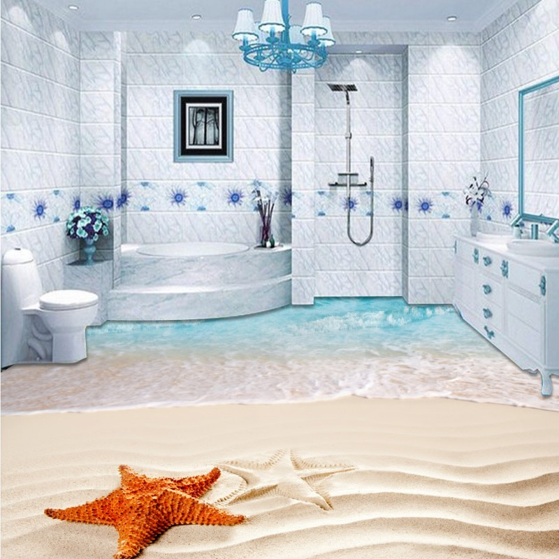 Free Shipping 3D surf beach shell sea star flooring painting living room office decoration self-adhesive floor mural