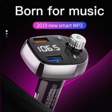 Bluetooth navigation FM transmitter car Mp3 player radio music wireless hands-free car kit QC3.0 fast dual USB car charger недорого