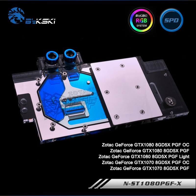 Bykski N-ST1080PGF-X Full Cover Graphics Card Water Cooling Block RGB/RBW/ARUA for Zotac GTX1080/1070 8GD5X PGF bykski full cover graphics card water cooling gpu block use for zotac gtx1080ti 11gd5x pgf player power oc with rgb light