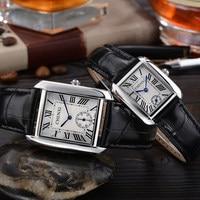 New Square Rome Dial Dress Genuine Leather Quartz Wristwatches Wrist Watch For Men Women Lovers Black