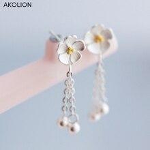 цены AKOLION silver cherry blossom drop tassel earrings 925 Sterling Jewelry  flower handmade Hypoallergenic earrings for women gift