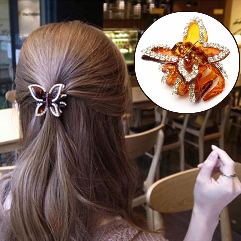 Elegant Rhinestone Crystal bow Clip Hair Claw Hairpin Wedding Bridal blue color