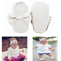 Handmade baby shoes headband set Soft Bottom Fashion Tassels Baby Moccasin Newborn Shoes girls leather Prewalkers baby boy Boots