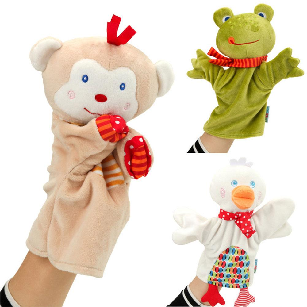 Cute Cartoon Animal Puppet Monkey Frog Duck Plush Hand Puppet Toy Doll Baby Comforting Towel  Puppets Titeres