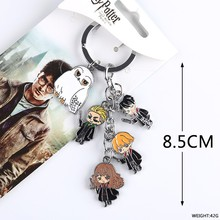 Anime Harri potter metal phone strap keychain keyring figure pendant toys set key chain cartoon toy gifts