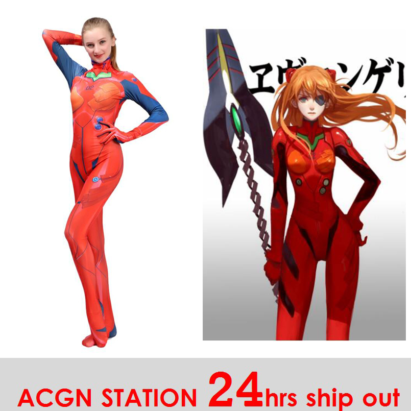 2019 New Kids Women Asuka Langley Soryu Cosplay Costumes Movies EVA2 Women Jumpsuits Bodysuits Halloween Costumes Movie unitard