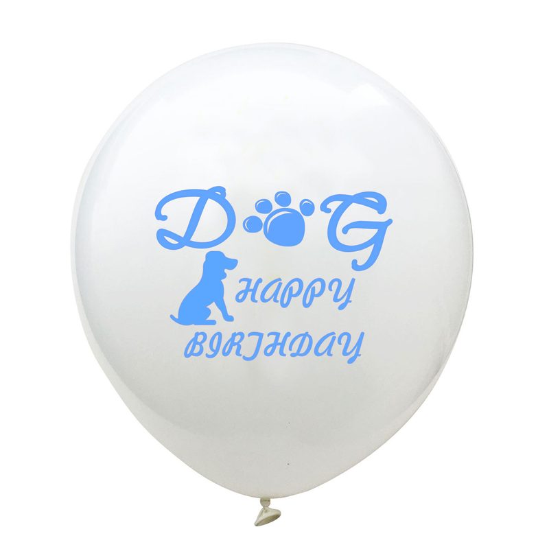 10pcs 12 Inch Pink Blue Dog Footprint Happy Birthday Latex Balloon for Lovely Dog My Friend Dog Pet Birthday Party Decoration image