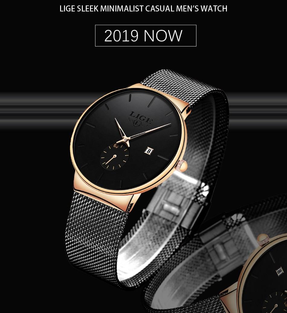 HTB101gTbMFY.1VjSZFqq6ydbXXa7 Relojes Hombre LIGE New Mesh Steel Men Watches Top Brand Luxury Ultra-thin Waterproof Quartz Watch Men Casual Sport Quartz Clock