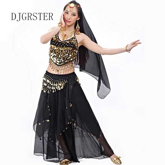 ecfaafb22 DJGRSTER 2019 New Arrival 5pcs set Belly Dance Costumes Bollywood Costume  Indian Dress Sexy Training