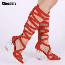 Sexy negro claro tacones gruesos gladiador zapatos de mujer zapatos Peep  Toe encajes de muslo alto 759c4d118699