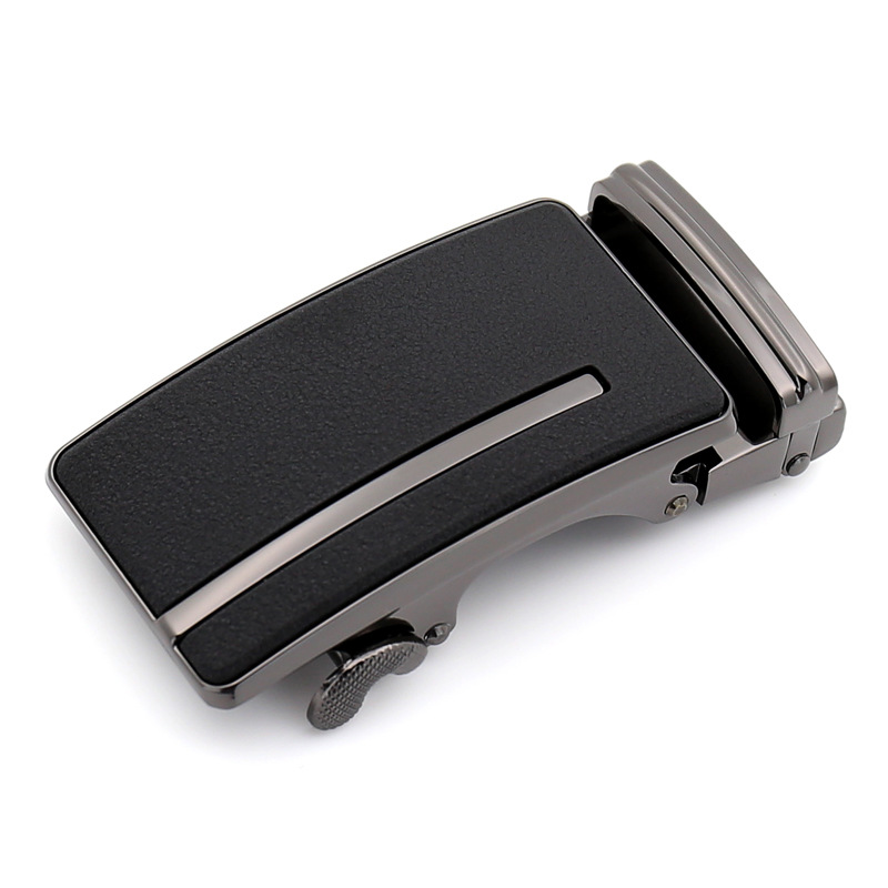 3.5cm Width Casual Simple Matte Buckle Designer Men's Leather Automatic Belt Buckle Zinc Alloy Buckle Head Black LY1335