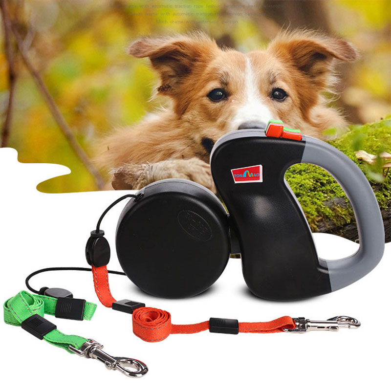 Retractable Double Pet Dog Cat Walking Leash For Two Dogs Small Medium Dual Dog Chian Leash Lead Coupler For Pitbull 3M 25KG