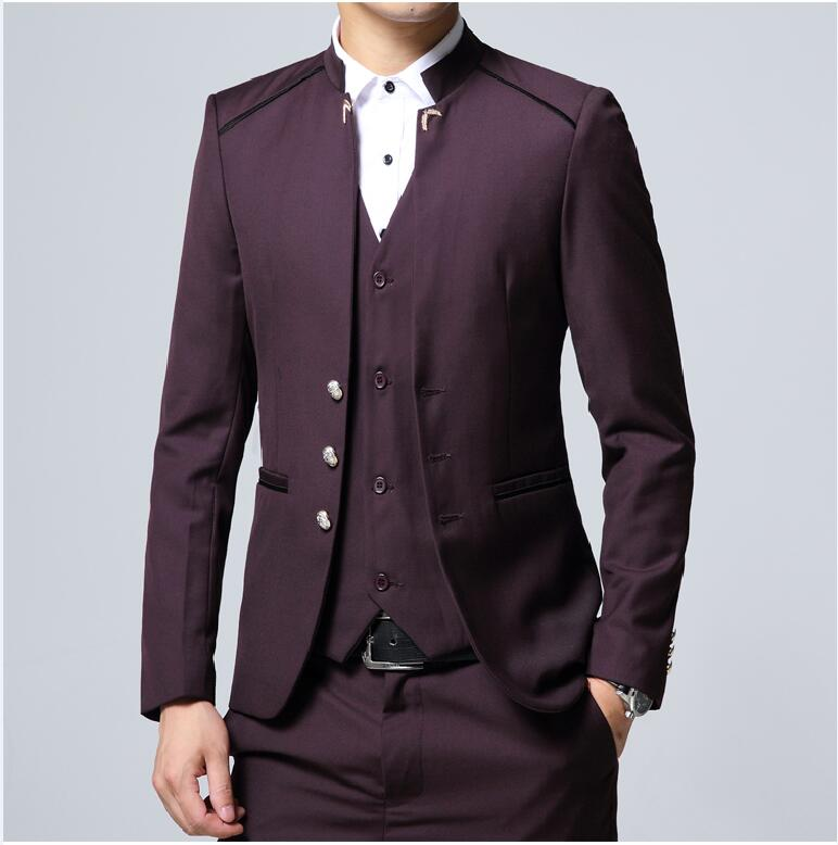 b7589651fd2 Top Quality Men Suits Blazers Chinese Tunic Suit Slim Fit Male Tuxedos  Wedding Business Prom Party Blue Style Suit Stand Collar-in Suits from Men s  Clothing ...