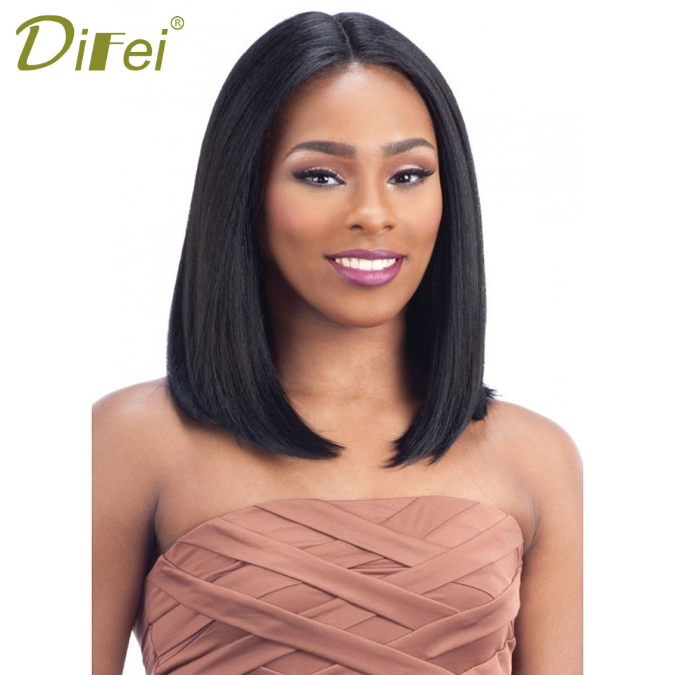 DIFEI Short Straight Hair Lady Cospaly Wig High Temperature Synthesis Feminine Fiber Hal ...