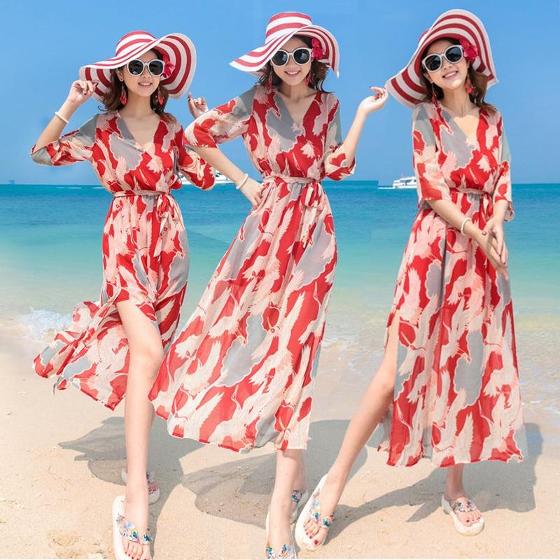 00b0a9ab551 Tcyeek Women s Dresses 2019 New Fashion Female Clothes V Neck Slim Dress  Office Lady Summer Travel Beach Chiffon Vestidos LWL153-in Dresses from  Women s ...