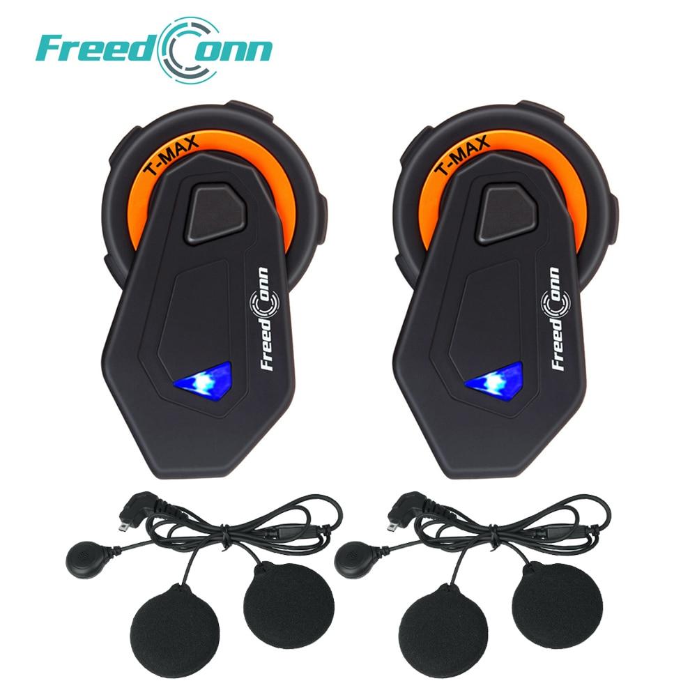 2 pcs FreedConn T-MAX Moto Helmet Bluetooth Headset 6 riders Talking Motorcycle Intercom 1000m FM Radio Bluetooth 4.1+Soft Mic
