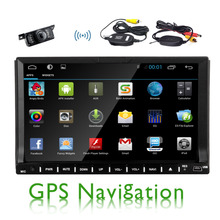 2 din 7 inch Android 4.4.4 car DVD player HD Touch Screen 1080P Video GPS Stereo audio with Screen Mirroring & OBD2
