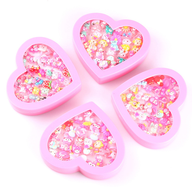 Girls Toy Colorful Mini Cartoon Plastic Rings Fingers Girls Kids Children Pretend Play Beauty Fashion Toys Birthday Party Gifts