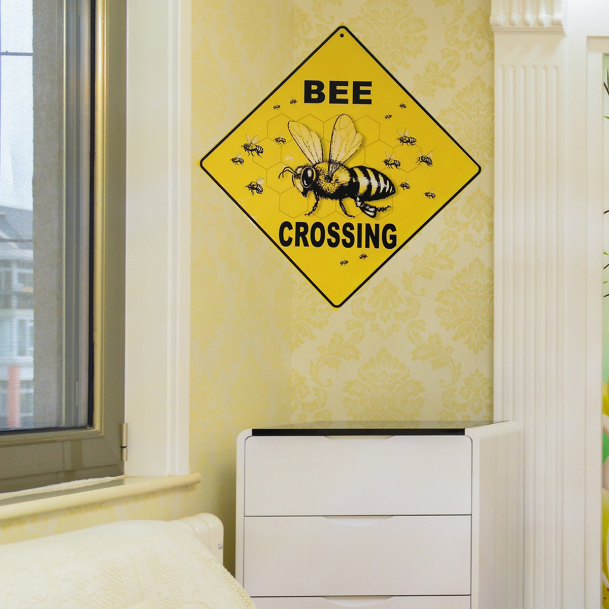 BEE CROSSING Novelty Funny Wood Sign Home Office Garden Decorative ...