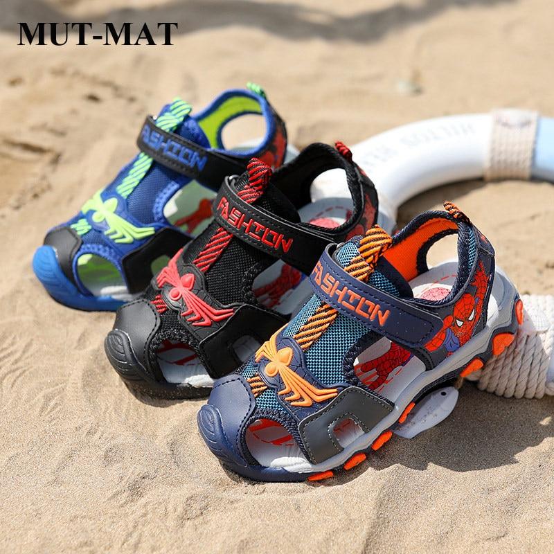 Children Sandals  Summer New Boys Shoes Cartoon Spide-man Picture Soft Bottom Beach Sandals