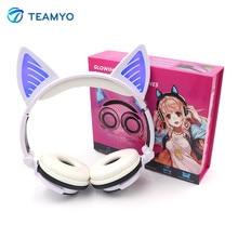 Teamyo Mode Cosplay Chat Oreille Bluetooth Écouteurs Casque Sans Fil Stéréo Casque Bandeau Écouteurs Avec Micro pour Mobile Téléphone