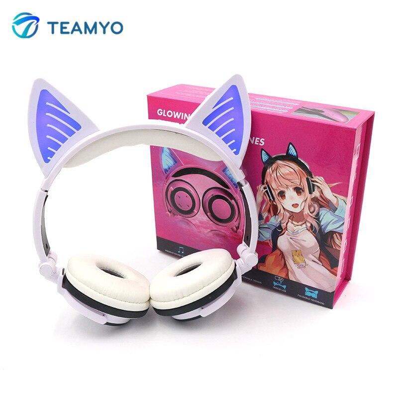 Teamyo Chat Oreilles Écouteurs Casque Bluetooth Sans Fil Stéréo Casque Bandeau Cosplay Écouteurs lumineux casque pour Mobile Téléphone
